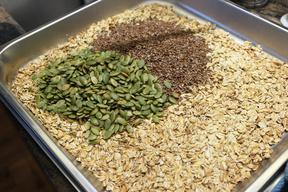 1 Cup of each. - Flax seeds and Pumpkin seeds.