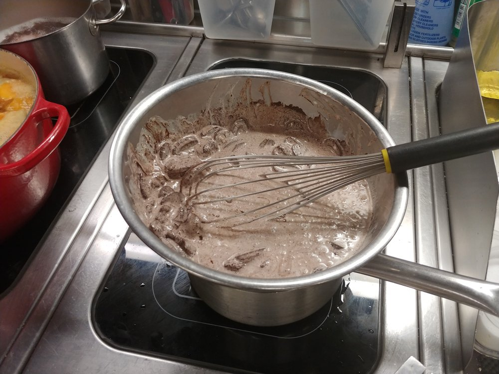 Whisk - When fully melted, you will have a glossy thick ganache.