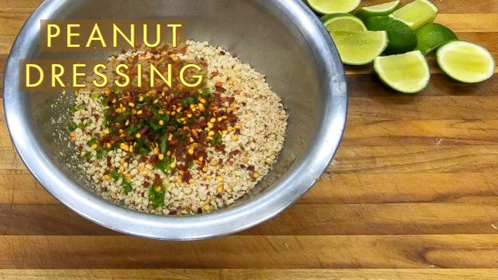 Spicy P'Nut Dressing - 1/2 Cup Toasted PeanutsGinger, thumb sized piece1 Clove Garlic 1 Green Chilli1 tsp Red Chilli Flakes2 tbsp Tamari1 Lime2 tbsp Coconut Sugar1/4 Cup Coconut Milk
