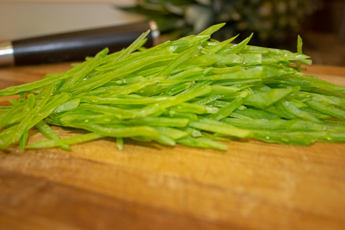 Slice - the snow peas.
