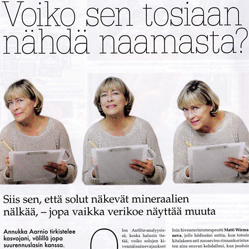 Luontaisterveys 12/2013  Solumineraali® puutostilojen tunnusmerkit soluista kasvoille