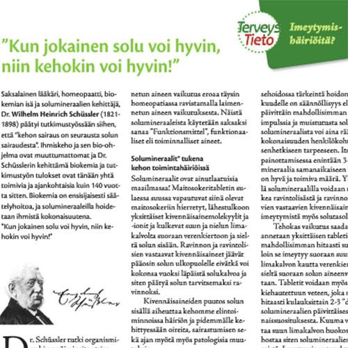 """TerveysTieto 01/2014  """"Kun solut voivat hyvin, niin kehokin voi hyvin!"""" (A.Aarnio)"""