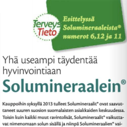 TerveysTieto 02/2014  Solumineraalit® hyvinvointia täydentämään, yksin tai yhdessä