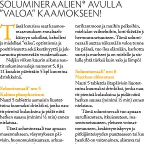 TerveysTieto 06/2014  Solumineraalien® avulla iloa & valoa kaamokseen