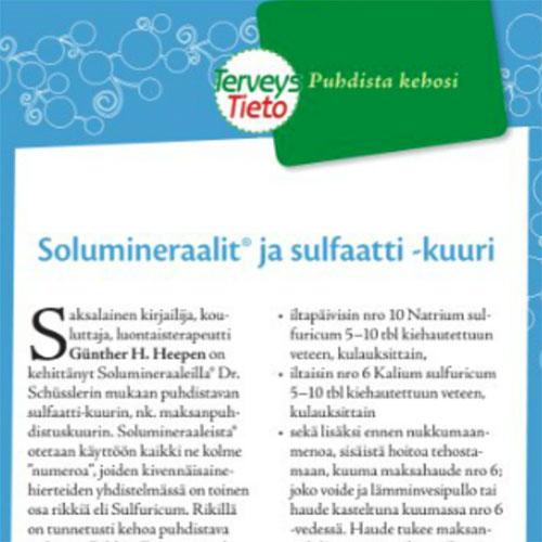 TerveysTieto 01/2015  Solumineraali® sulfaattikuuri maksan puhdistukseen