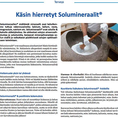 Terveys -lehti, STJ ry 05/2018  Käsin hierretyt Solumineraalit®, ainutlaatuiset maailmalla