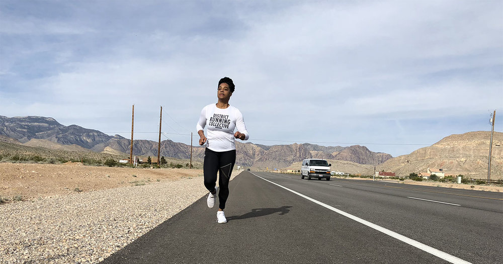 Stephani taking part in the Speed Project 4.0, where she joined District Running Collective and other run crews in a 340-mile run from L.A. to Las Vegas. Photo:  Rabbit Wolf Creative
