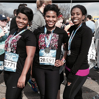 Adrienne and friends after her first half marathon in 2014.
