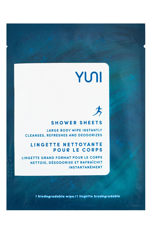 Yuni Shower Sheets Large Body Wipes ($15) - One wipe is all you'll need with these larger sheets. Neem leaf extract deodorizes, calms skin and soothes inflammation; aloe softens skin; green tea protects cells from damage and signs of aging; peppermint leaf essential oil reduces bacterial activity on the skin; and essential oils refresh and energize. Vegan; paraben-free; sulfate-free; phthalate-free; SLS-free; formaldehyde-free; petroleum-free; mineral oil-free; synthetic color-free; synthetic fragrance-free; GMO-free; gluten-free.Photo: Yuni Beauty