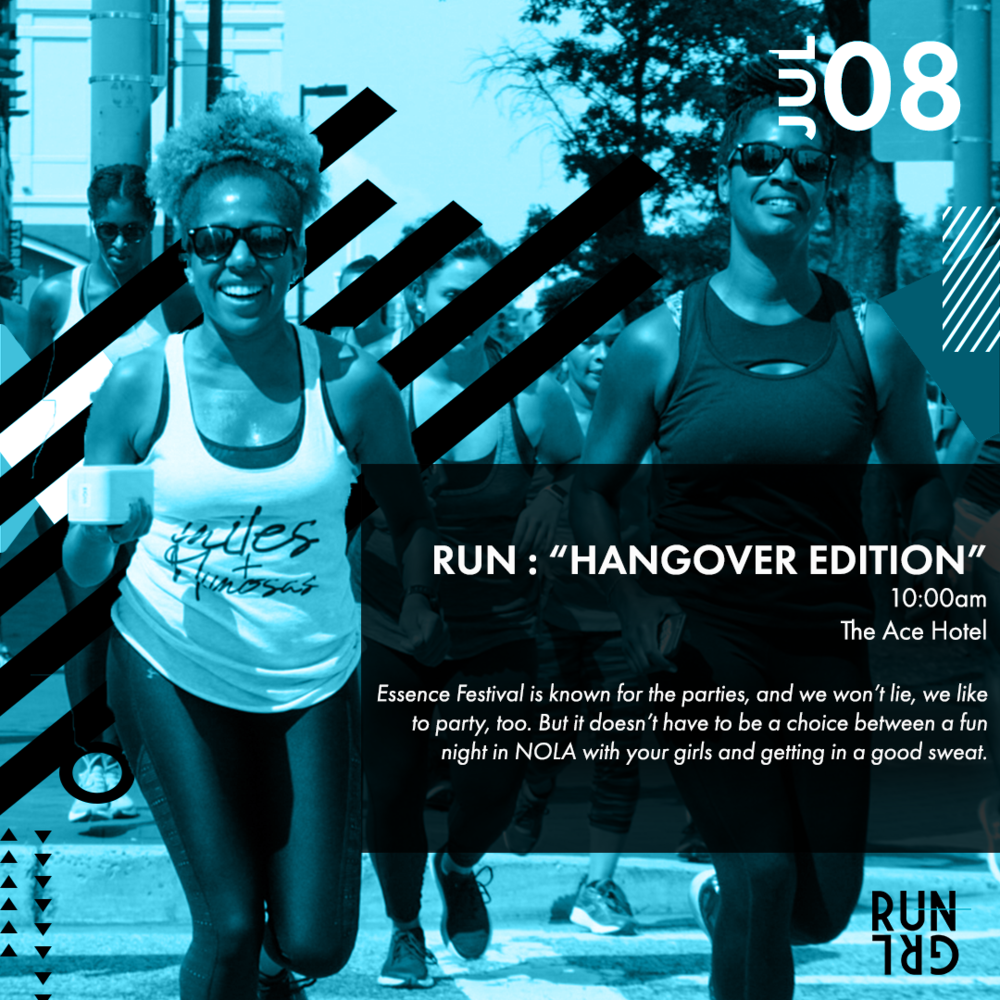 Sunday Hangover Run Through The French Quarter - Sunday, July 8th, 10:00 AM | Ace Hotel, New OrleansEssence Festival is known for the parties, and we won't lie, we like to party, too. But you won't have to choose between a fun night in NOLA with your girls and getting in a good sweat. Running brings us balance, and there's no better way to sweat out last night's shenanigans than a morning 5K run through the French Quarter. All paces welcome.