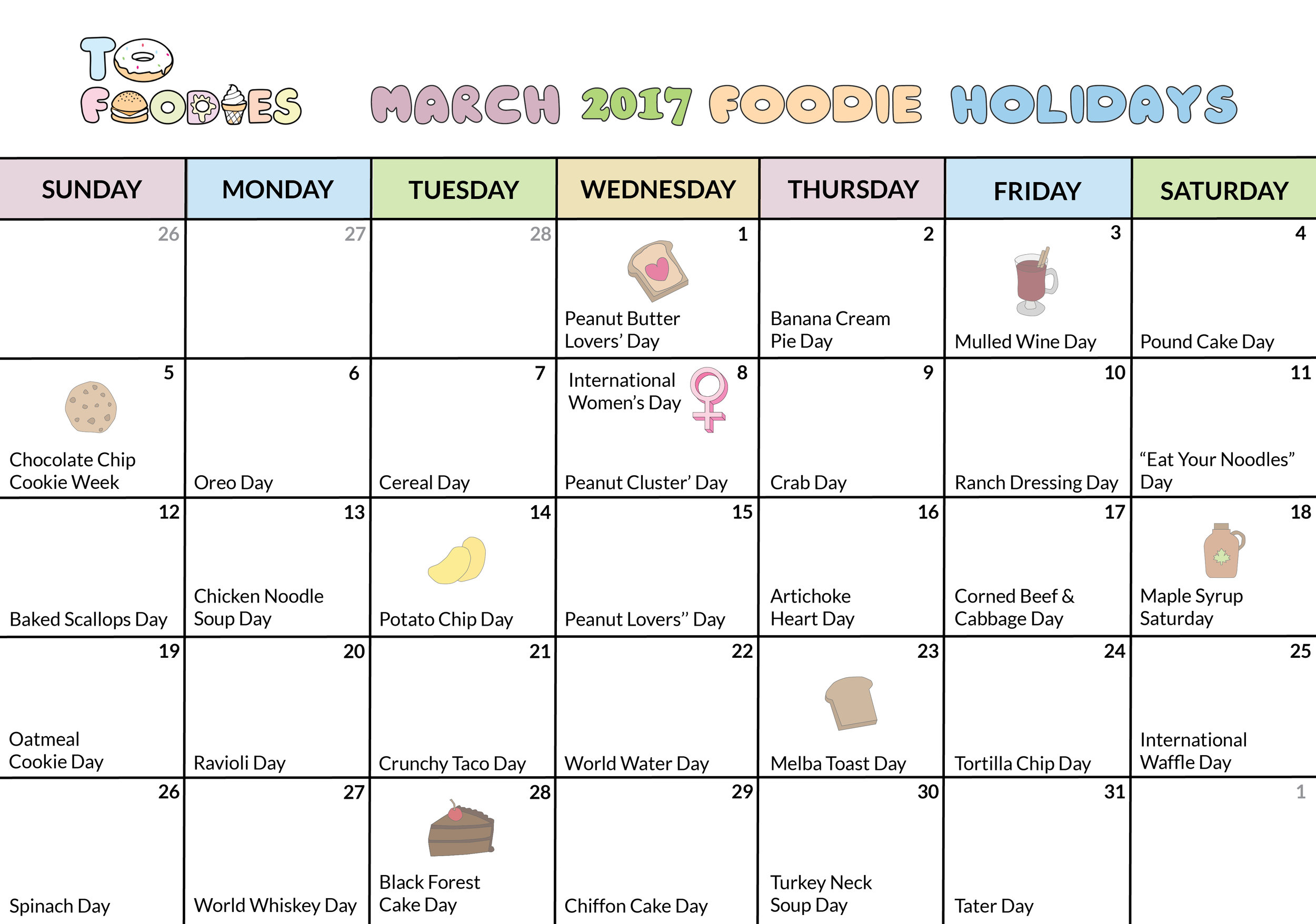 ToFoodies March 2017 Calendar