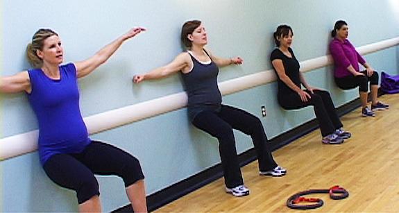 Prenatal wall squat