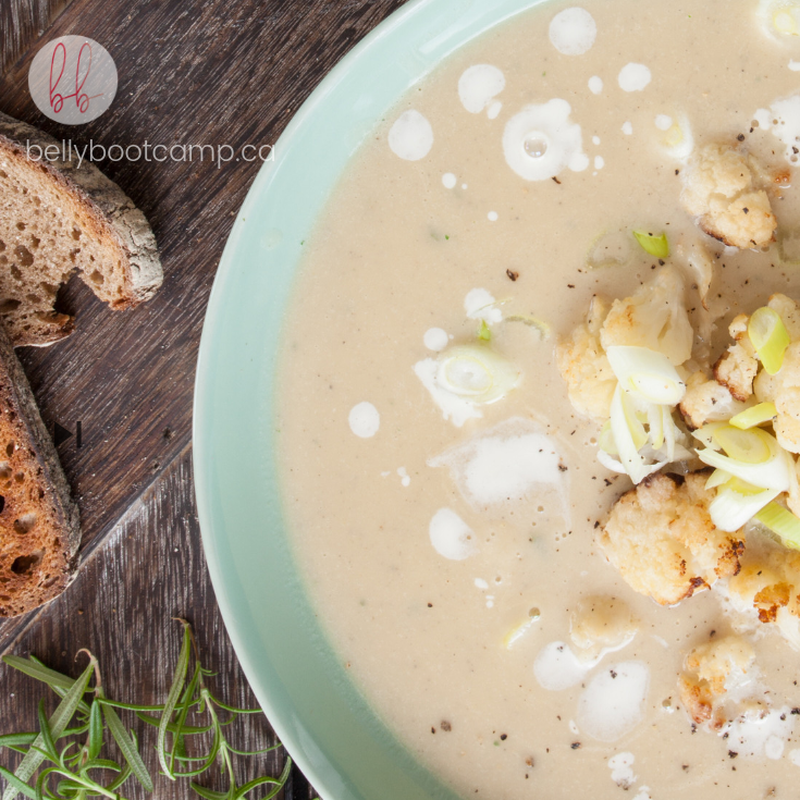 roasted garlic and cauliflower soup - Just as perfect for company as it is for slurping at lunch.