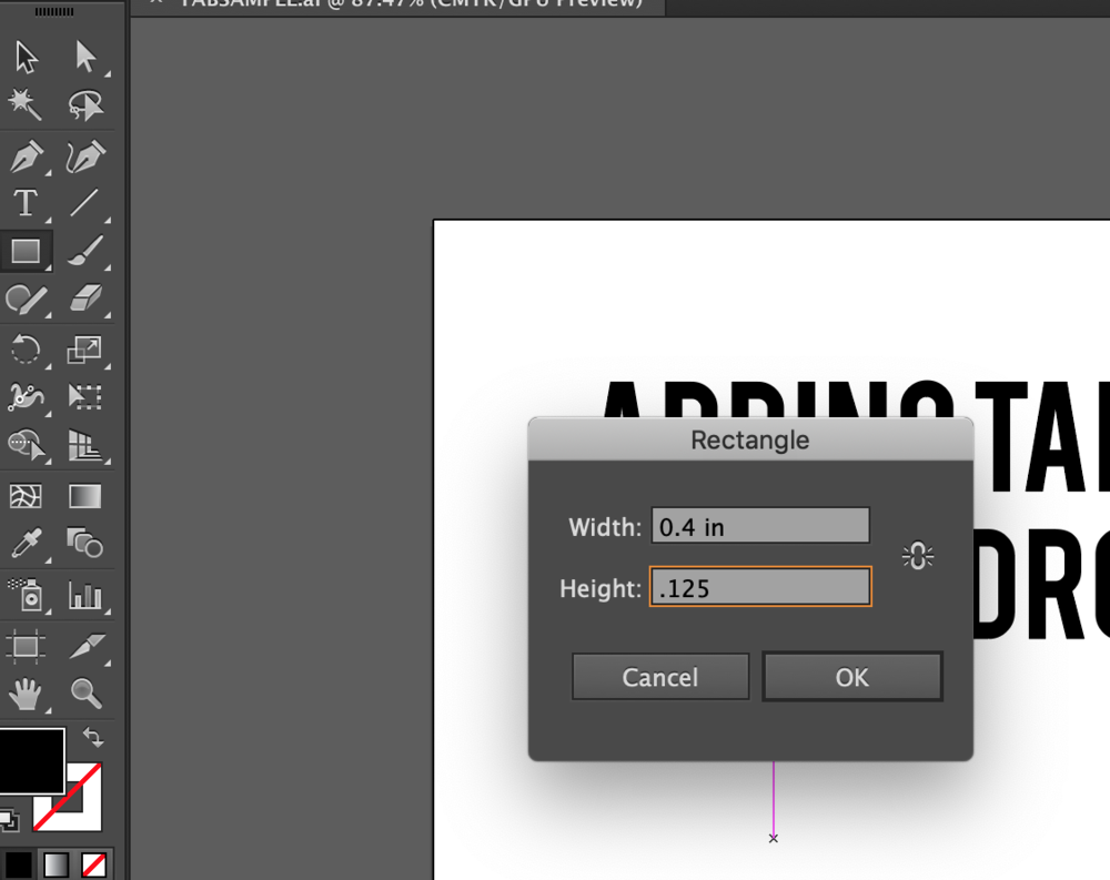 Changing the size of your rectangle tab in Adobe Illustrator to prepare your file for laser cutting.