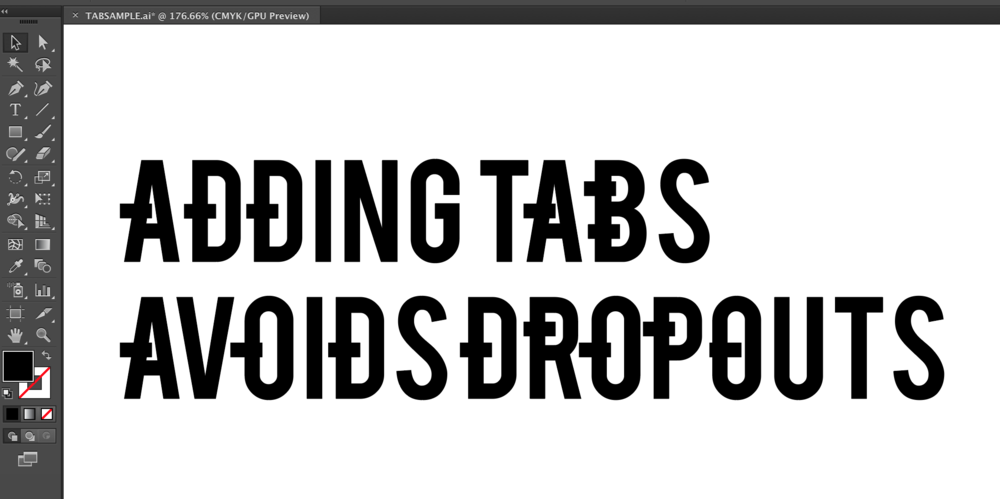 Adding Tabs to Outlined Text in Adobe Illustrator to prepare or prep file for laser cutting or to be laser cut.
