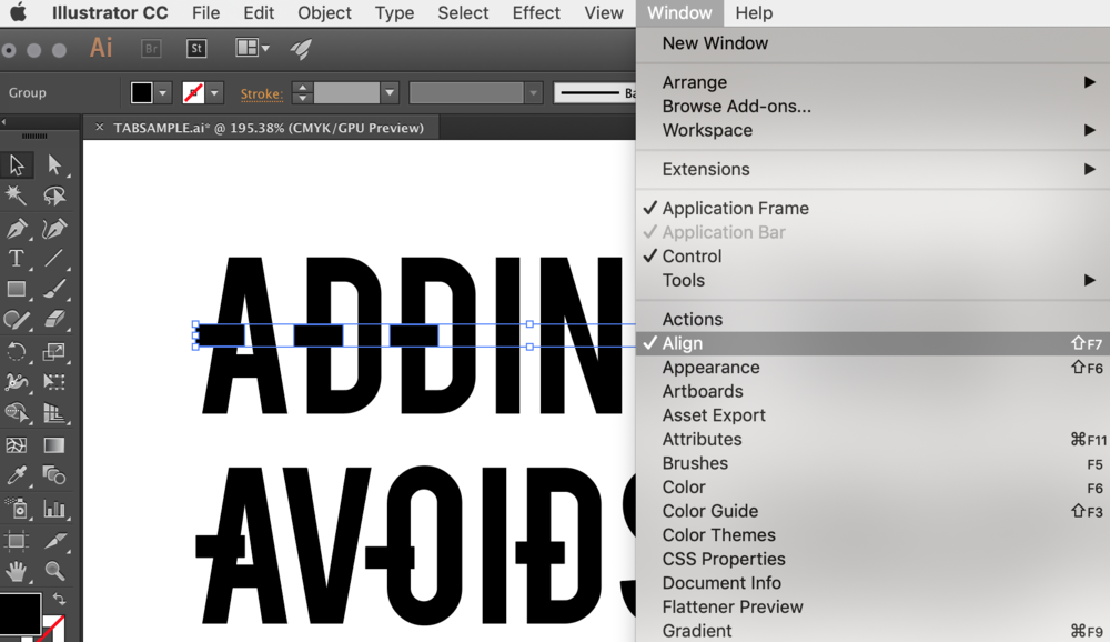 How to open the align window in Adobe Illustrator to line up tabs equally.