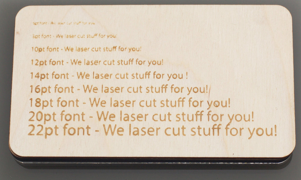 Laser Cut Birch Plywood engraved or etched with Text