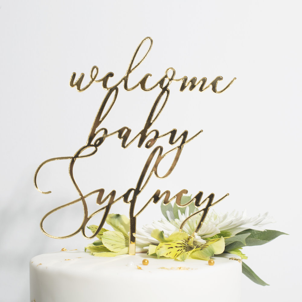Gold Mirror Acrylic Cake Topper - Baby Shower, Welcome Baby