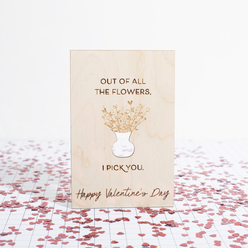 Kelsea Buddo - Wood Laser Cut and Etched Valentine's Day Card