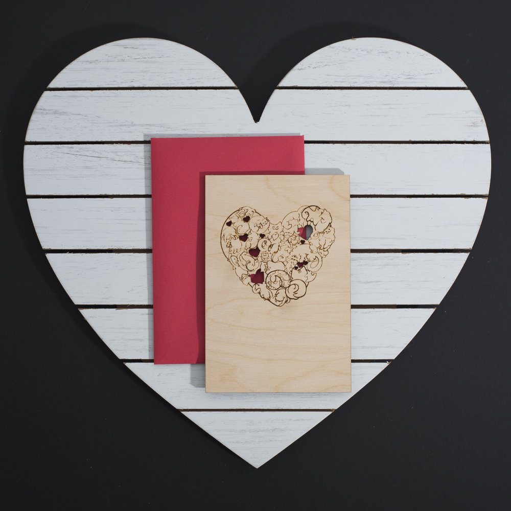 LAURA RABB  /// @babbitrabbit - Wood Laser Cut and Etched Valentine's Day Card