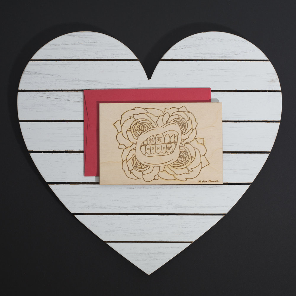 NATHALIE MATHYS /// @atelier_ollimonki - laser cut and etched valentine's day card