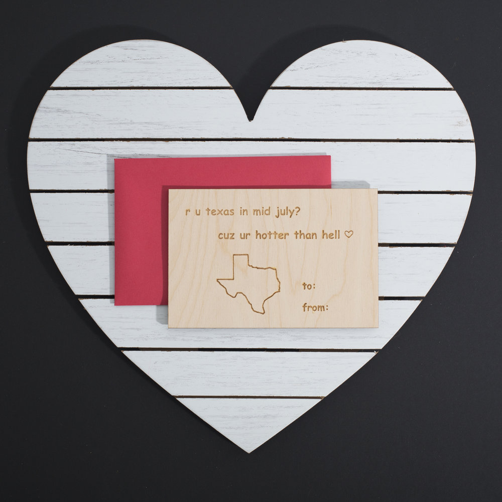 Molly Martin /// @threadstuff - Wood Laser Cut and Etched Valentine's Day Card