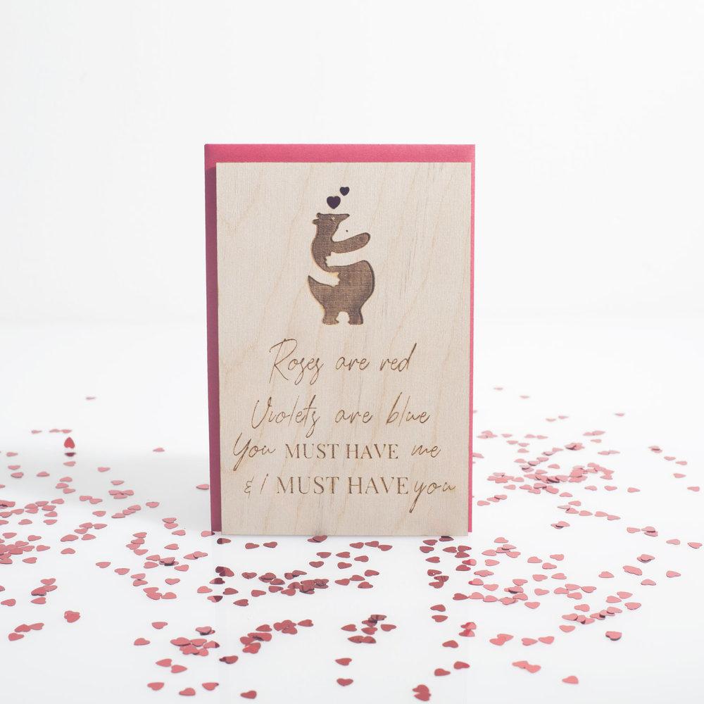 Jasmine Diaz - Laser Cut Wood Valentine's Day Card with Polar Bears