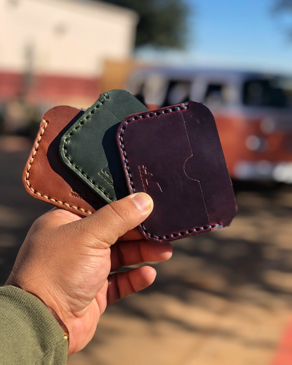 Handmade leather wallets with stitching handmade in Houston, Texas by Bear Cub Leather