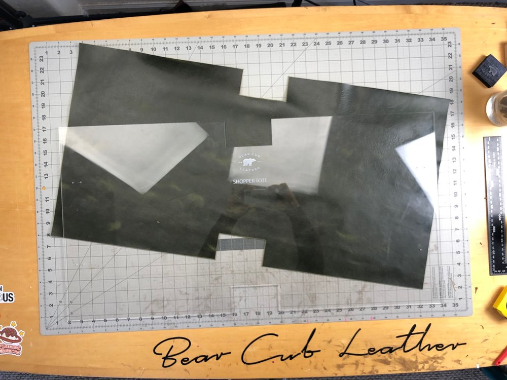 Laser cut leather template for cutting leather totes or bags by Bear Cub Leather