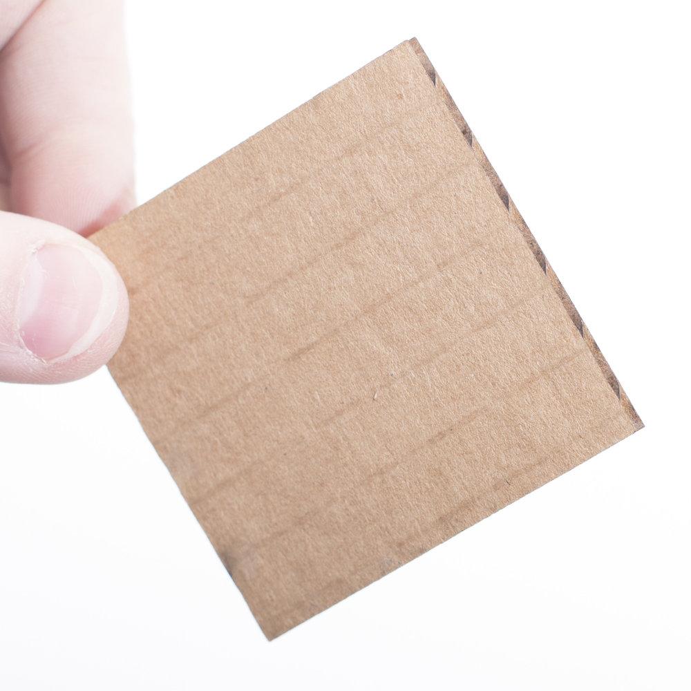 Cardboard sheet sample for laser cutting or laser etch or engraved pieces