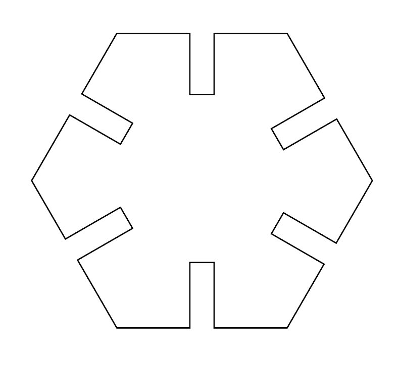 Hexagon piece created using Minus Front tool in Adobe Illustrator with tabs