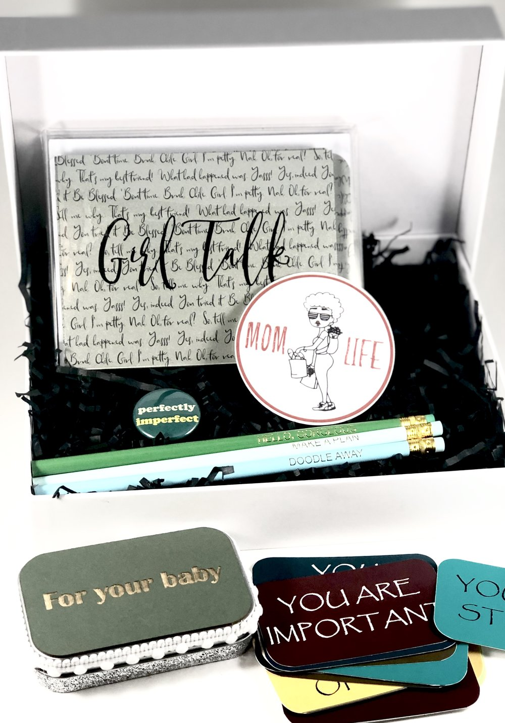 MikMont Creations custom gift pack with card, pencils, affirmation tin with laser etch lid