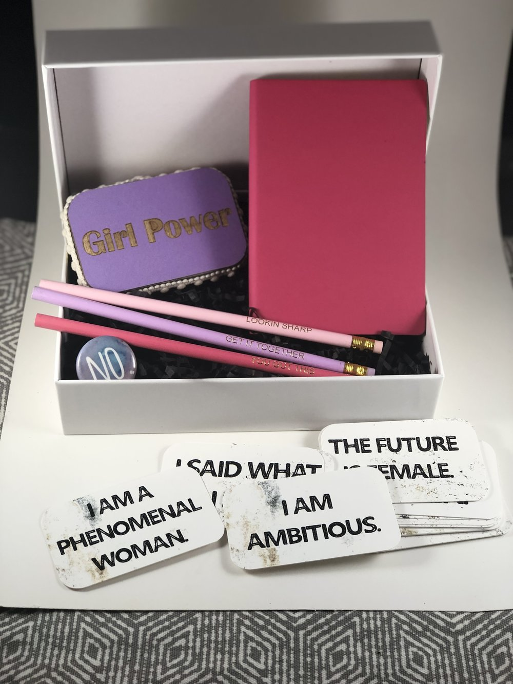 Custom gift set by Mikole Montgomery - woman empowered gift set with laser engraved mat board packaging