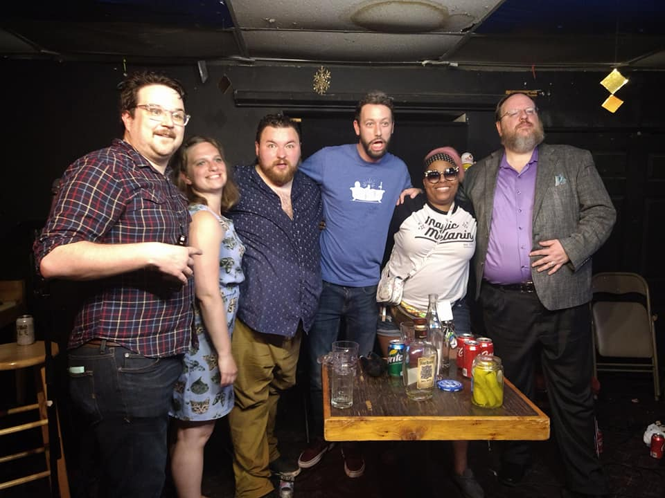 Left to right: Tom Plute, Liz Greenwood, Derik Minto, Andrew Rudick, Bianca Moore, and Shane Rhyne (Kafe Kerouac, Columbus, OH)