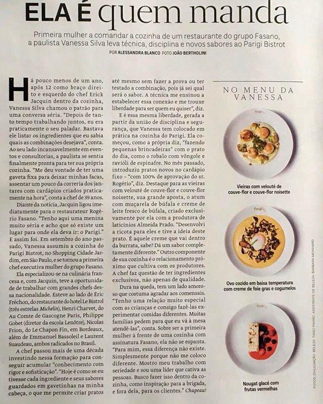@vanes_cuisine é CHEF, com tudo que isso implica. Sua gastronomia e sua liderança se fazem presentes nos pratos que saem de sua cozinha e se tornam reconhecidas nesta matéria. Como lá na França, traz a valorização do ingrediente fresco, o relacionamento parceiro com produtores e o desenvolvimento do paladar como norteadores de sua cozinha. Chef Vanessa, parabéns pela matéria e pelo grande trabalho que vem fazendo. E, como produtores, agradecemos. #altagastronomia #fasanosp #parigibistrot #parigibistrotcidadejardim #bufalaalmeidaprado #mozzarella #mozzarelladebufala #ricotadebufala