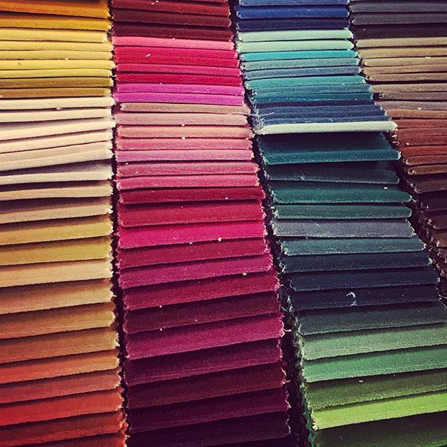 All the colours of the rainbow.  And then some.... #velvet #alltheprettythings #interiordesign #design