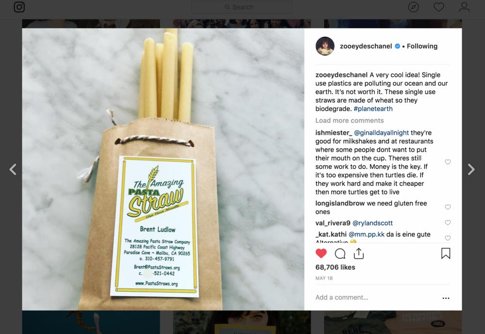 Zooey Deschanel Pasta Straws