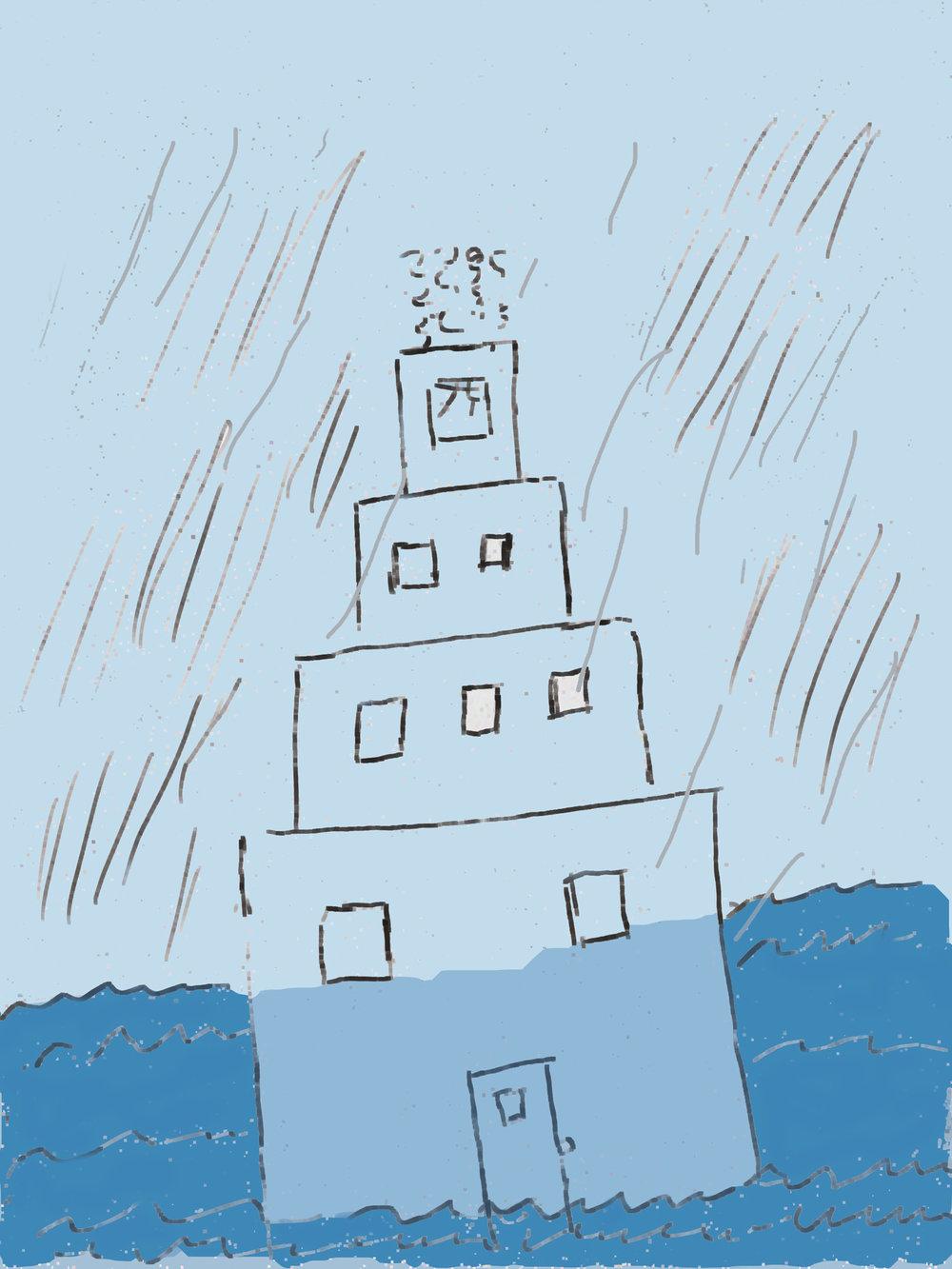 Stacked cubes, smoke, door under water_mollie.jpg
