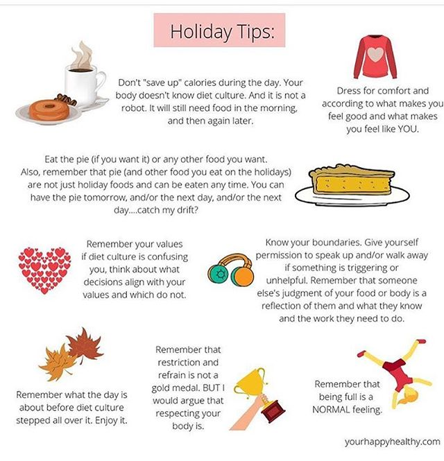 Important reminders as holiday season approaches! My favorite - remembering that you are not a robot, or as I say, you are more than an equation. You still need to eat throughout the day everyday, no matter how many calories you are planning on consuming at a holiday meal.  Thank you @yourhappyhealthyrd for these tips!