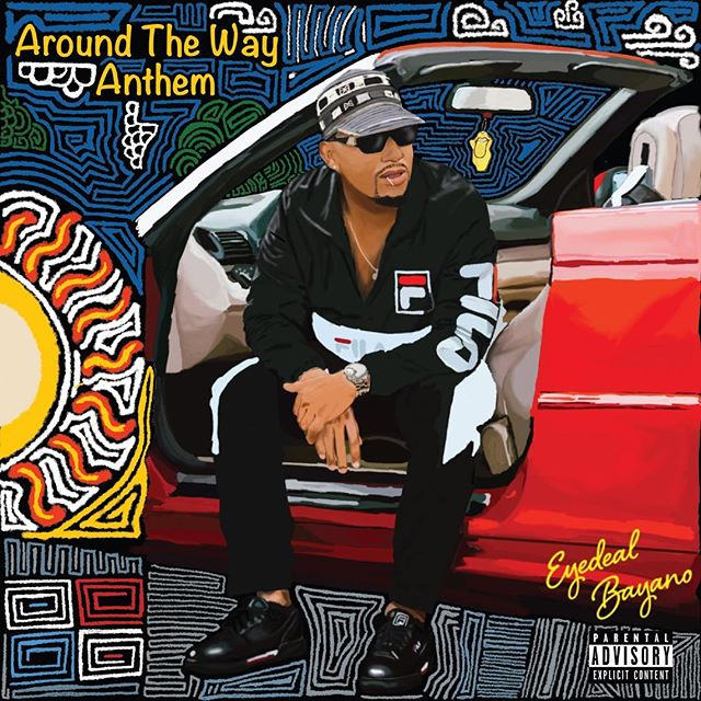 "The latest single ""Around the Way Anthem"" by @eyedeal_bayano is now available worldwide on Apple Music, Tidal, Spotify and all other digital music platforms.  Artwork: @kingmiddy  Production: @beatsbyjblack & @blvckrose_music  Bass: @funshomusic"