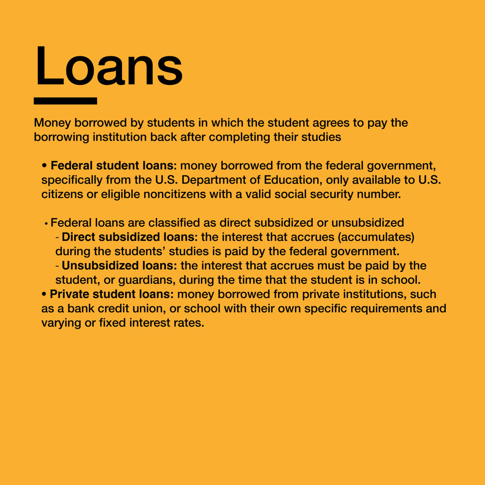 Subsidized or unsubsidized loans    Private student loans