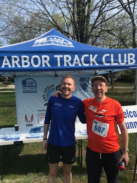 Ann Arbor racing veteran, Dr. Dave Jacobi and I chatting in front of the AATC tent. Dave is the kind of runner you always look forward to running into. His positive attitude is contagious.