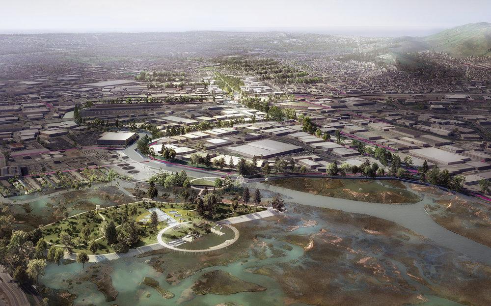 colma creek conceptual bird's eye view