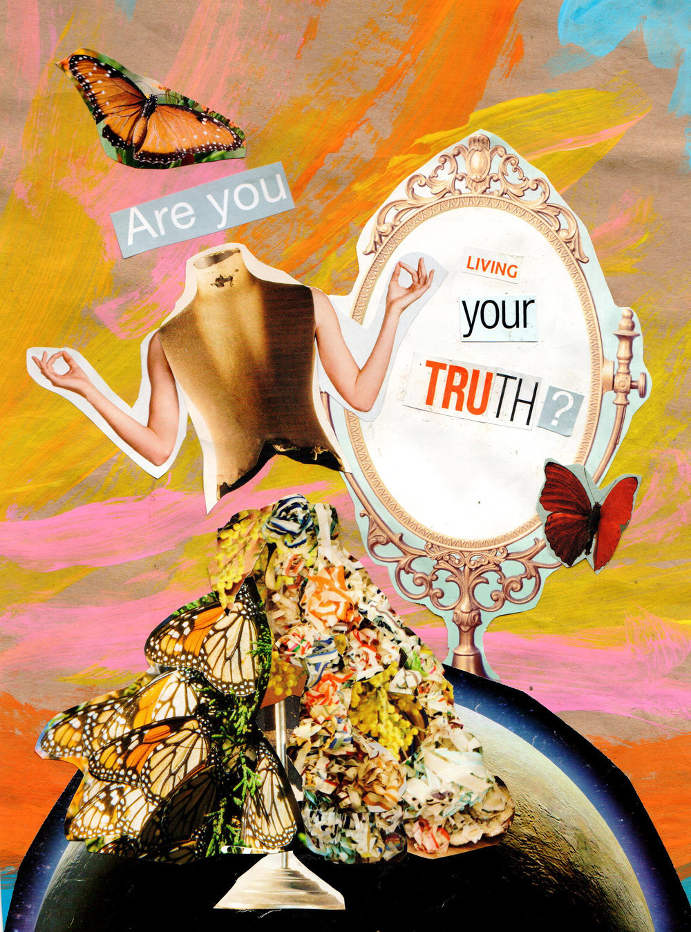 I like this artwork's metaphor of 'constructing truth', because it's….truthful. In our lives we piece together what we want to see; we edit out what we don't want to see, and we consistently construct false images of ourselves and the world around us.
