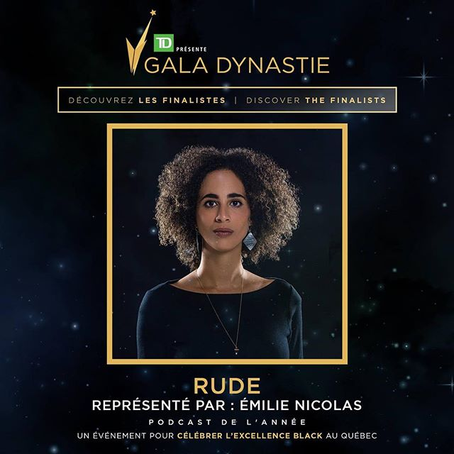 Did you know that RUDE is a finalist podcast in the running for Quebec's @galadynastie awards next week? #stayRUDE #rudethepodcast #borninmontreal @emilie_ni