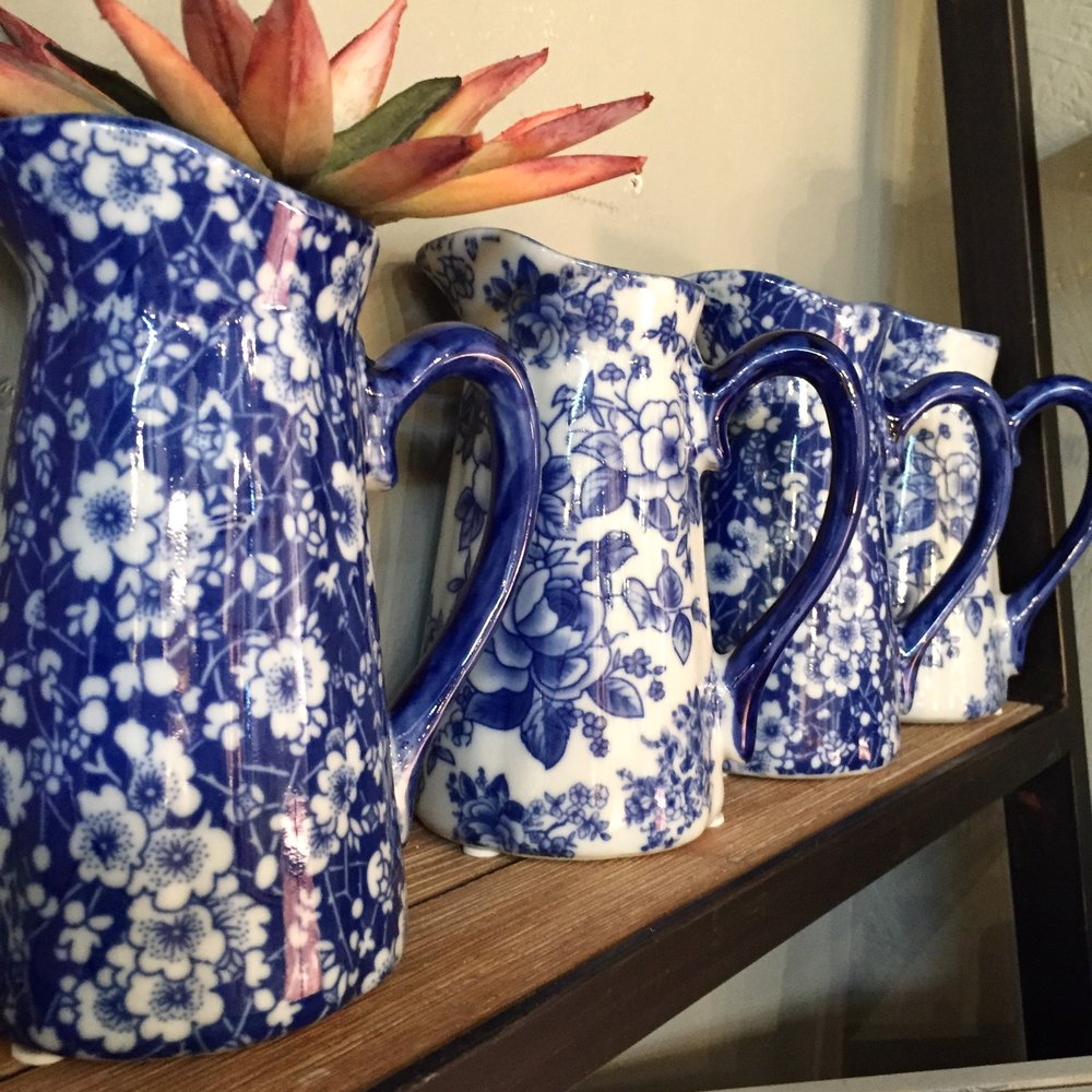 Blue and White Pitchers