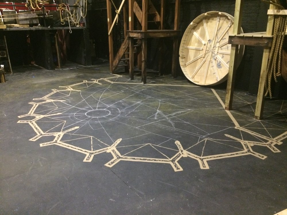 Sketching out the floor design with chalk