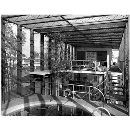 """Igor Polevitzky's Birdcage House on Biscayne Island was a radical experiment in outdoor living. It is the clearest example of his concept of the house as a volume of screened space, rather than solid mass. The split-level design consists of a series of floating concrete decks, with openness to each other and the outdoors. The screened cage encloses a pool and tree, while the exterior landscaping features a lagoon and sandy beach. In its entirety, the house is a utopian indoor-outdoor environment, an ideal famously explored by Buckminster Fuller in his Skybreak House."" - @historymiami #floridamodernismanddesign #igorpolevitzky #birdcagehouse"