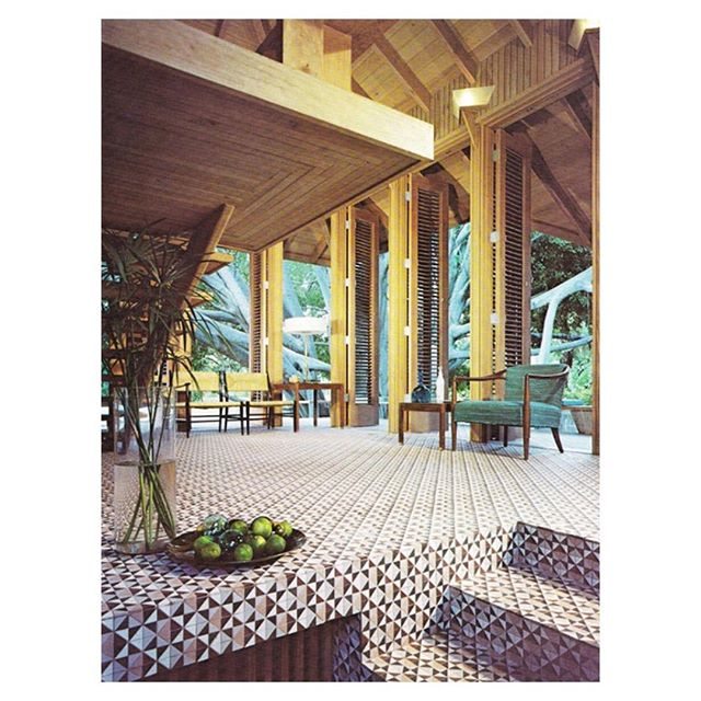 Interior details, abundant pattern. Jewell Parker Residence / coconut grove by Alfred Browning Parker 1957