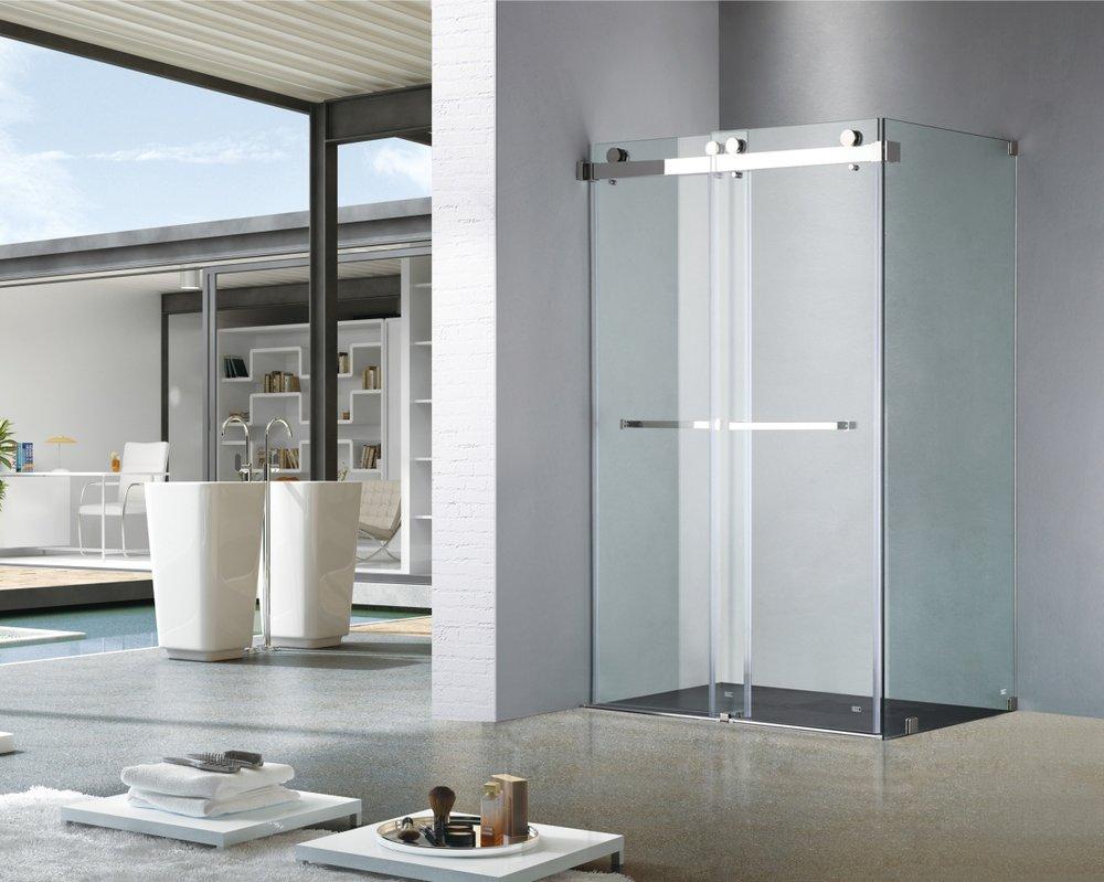Frameless Double Sliding Shower Door UPC01